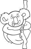 Cartoon koala for coloring book — Stock Vector