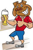 Bulldog man with glass of beer — Stock Vector