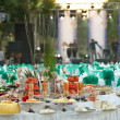 Covered table for a buffet table at the festival — Stock Photo