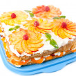 Cake with peaches and raspberries — Stock Photo