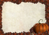 Halloween autumn frame border with leaves — Stock Photo