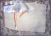 Ballerina legs post card with frame — Stock Photo