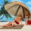 Woman on a tropical beach under umbrella — Stock Photo