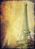 Paris eiffel tower vintage post card — Stock Photo