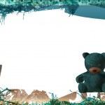 Teddy bear empty greeting card frame — Stock Photo