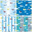 Seamless pattern airplanes — Stock Vector