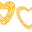 Golden heart maze - Stock Vector