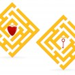 Golden heart maze — Stock Vector