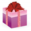 Vector of present in pink box with heart pattern — Vecteur #6457589