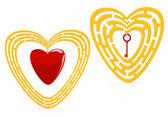 Golden heart maze — Stock Vector