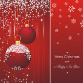 Christmas card in red — Stock Vector