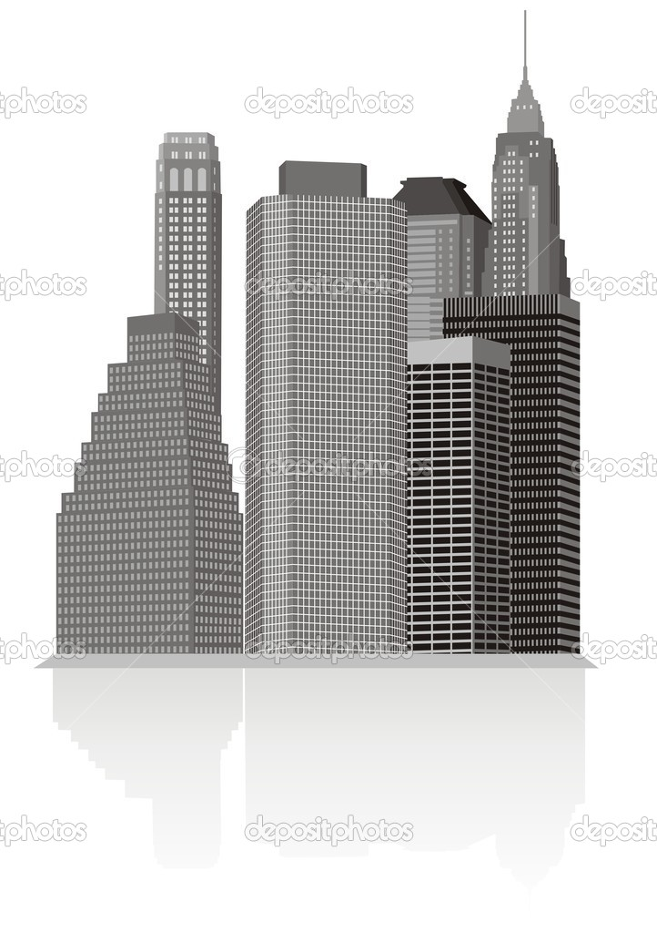 City silhouette, isolated on white — Stock Vector #6457643