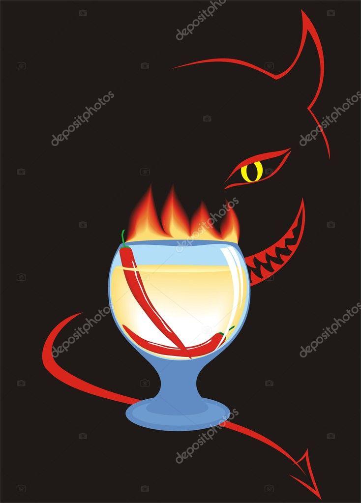 Burning red hot chili pepper cocktail — Stock Vector © vberla ...