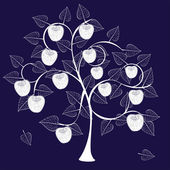 Sagoma albero di mela — Vettoriale Stock