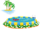 Outdoor pool and tropical island — Stock Vector