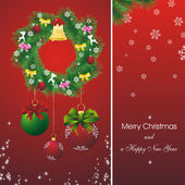 New year card with fir on red — Cтоковый вектор