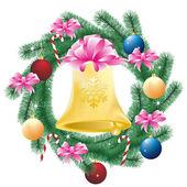 Bell ile yılbaşı dekor — Stok Vektör