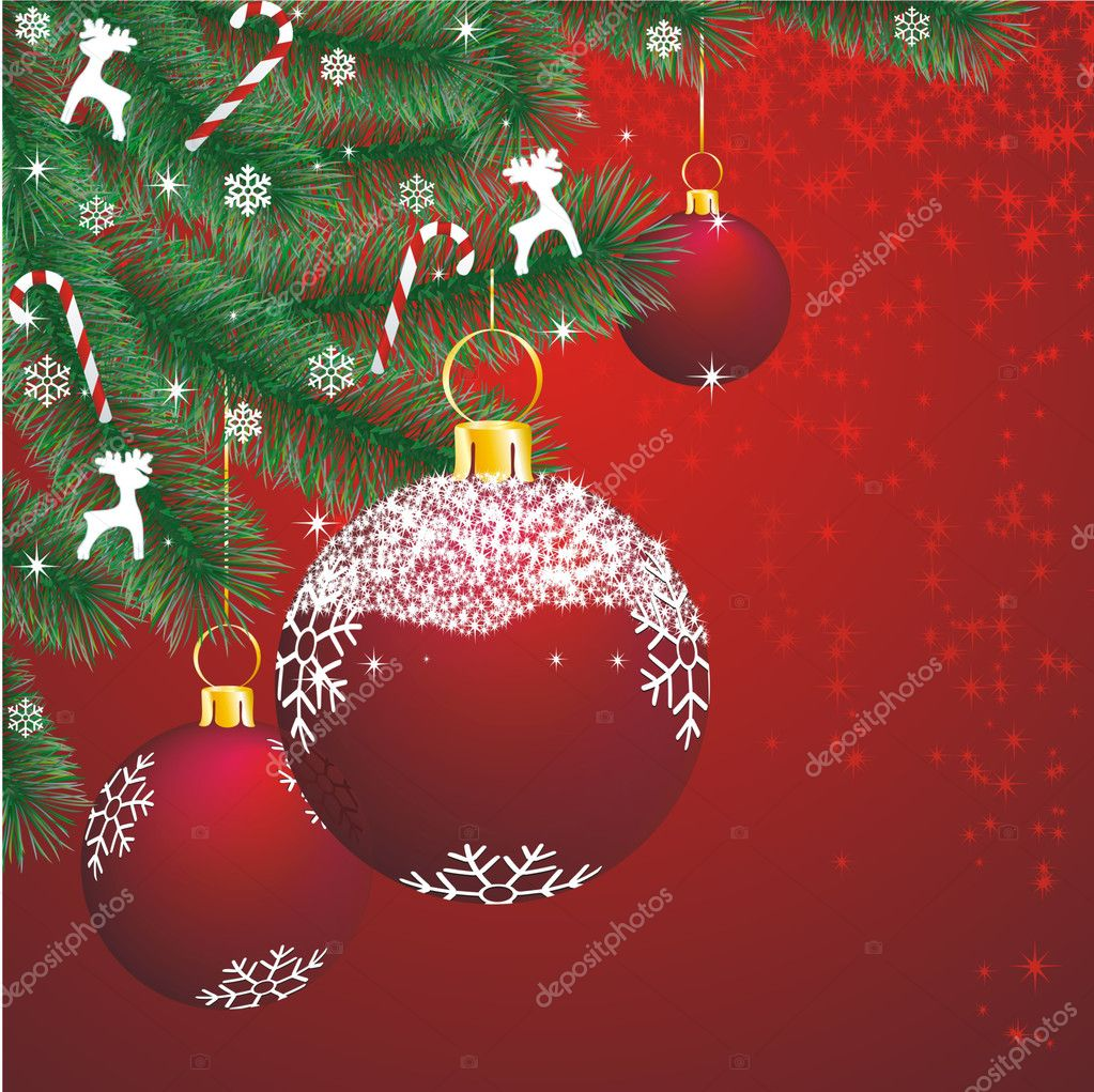 Christmas fir corner with decoration on red background — Stock Vector #6729495