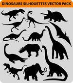 Dinosaur silhouettes — Stock Vector