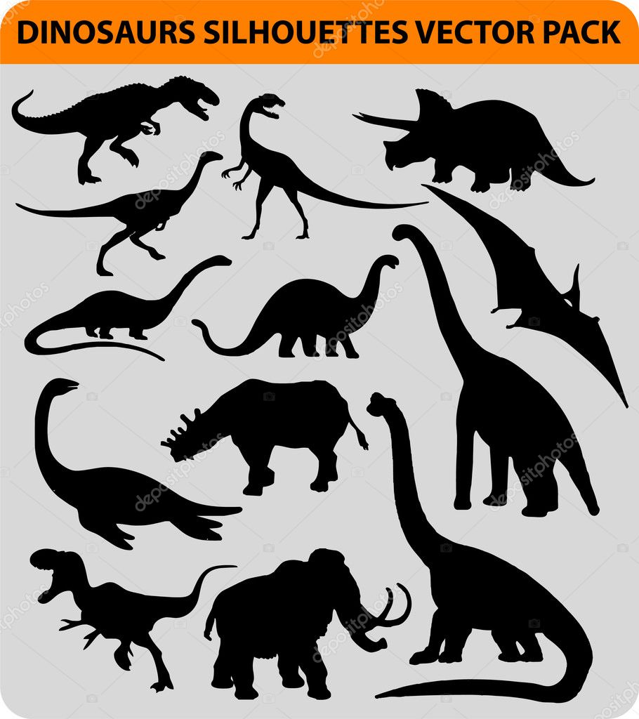 Vector pack with 13 dinosaur silhouettes — Stock Vector #5660047