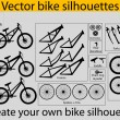 Stock Vector: Vector bike silhouettes