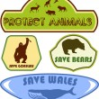 Stock Vector: Save wild animals