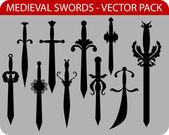 Medieval swords — Stock Vector