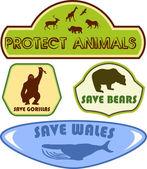 Save wild animals — Stock Vector