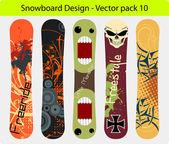 Snowboard design pack 10 — Stock Vector