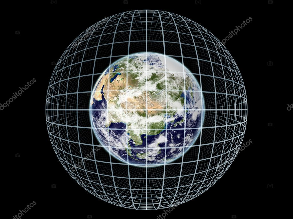 Montage of Earth globe and grid lines on the subject of modern technologies, communication and progress.  Earth map imagery is a courtesy of Visible Earth (http — Stock Photo #6133636