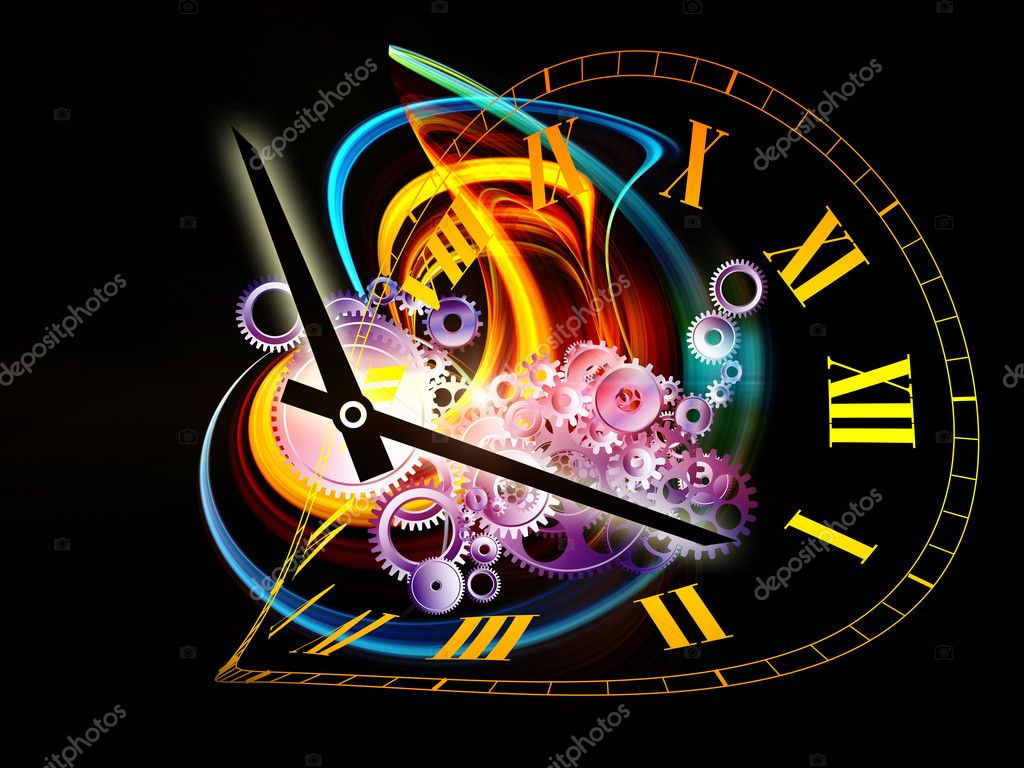 Interplay of elements of a clock and abstract elements on the subject of time, progress, past, present and future of technology — Stock Photo #6200196