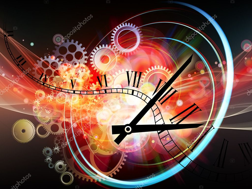 Interplay of elements of a clock and abstract elements on the subject of time, progress, past, present and future of technology  Stock Photo #6325206