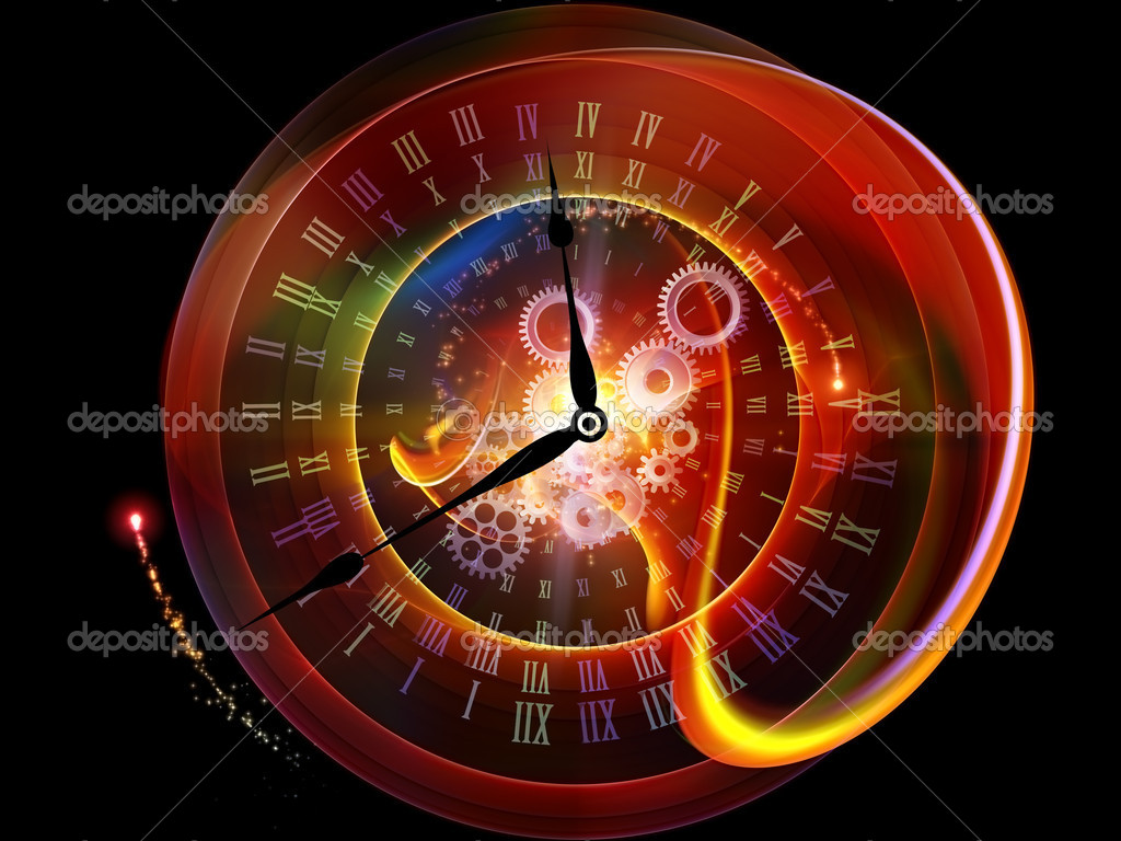 Interplay of clock elements and abstract imagery on the subject of time, progress, past, present and future — Stock Photo #6412235