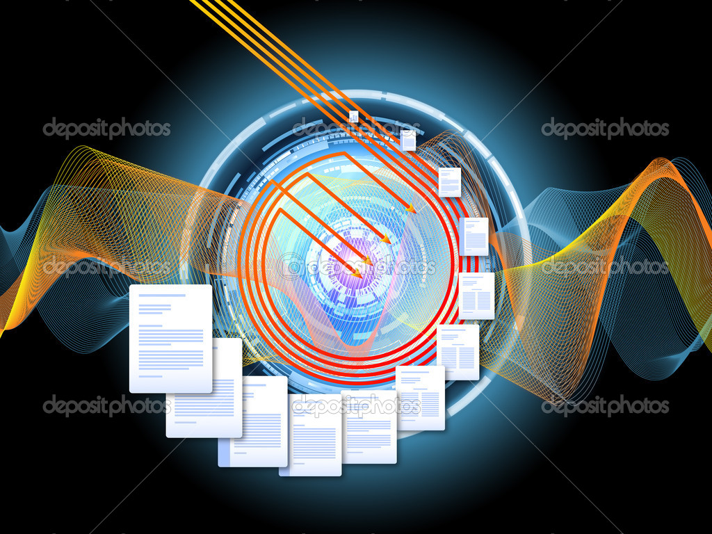 Interplay of document pages and abstract graphic elements on the subject of document processing, office, communications, information sharing and virtual reality — Stock fotografie #6657404