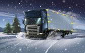 Cristmas truck — Stock Photo