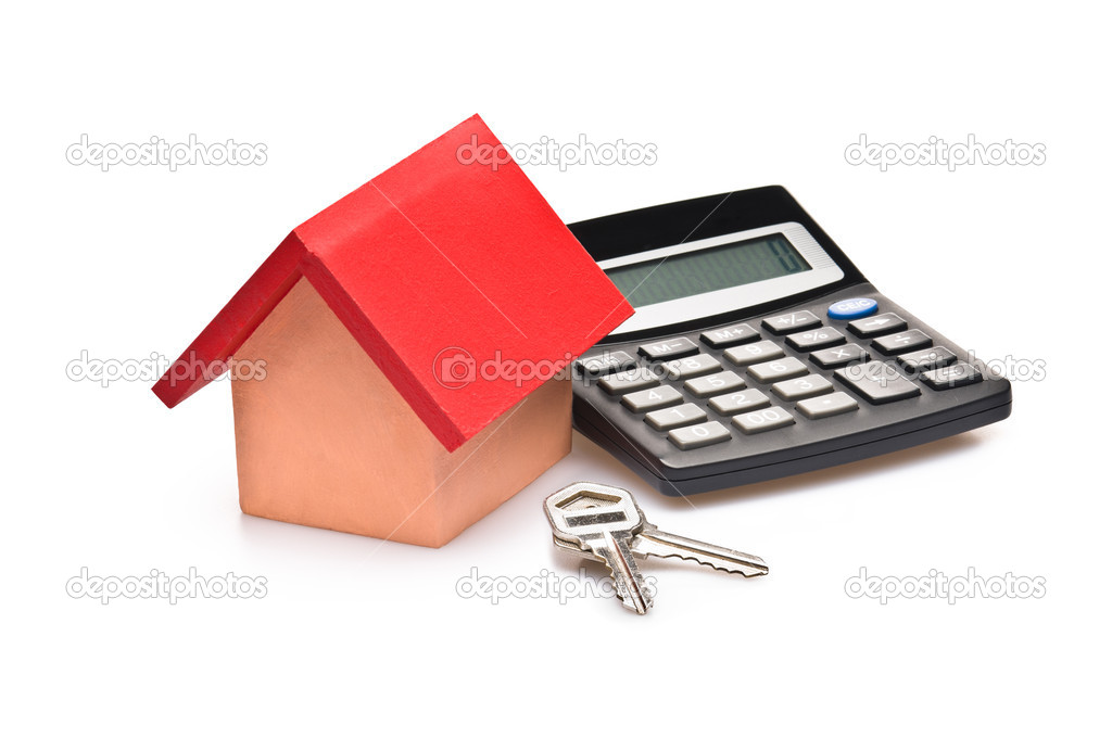 Red roofed house over white with calculator and house keys — Stock Photo #5437979