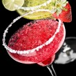 Stock Photo: One Classic and Strawberry Margaritin front of black backg