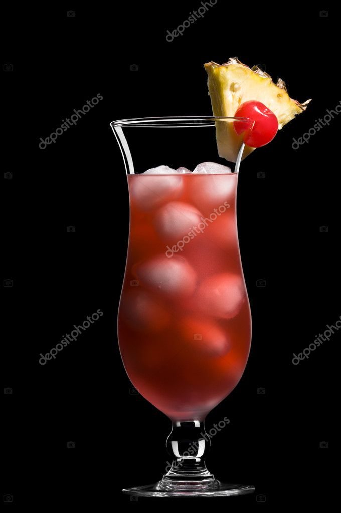 Singapore sling over black in a beautiful long drink glass — Stock Photo #6020089