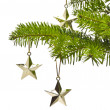 Three golden star as Christmas tree decoration — Stock fotografie #6224496