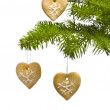 Tree heart shape cookies as Christmas tree decoration — Stock Photo