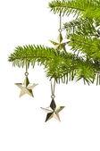 Tre gyllene stjärna som julgran dekoration — Stockfoto