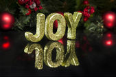 In capital letter written joy, glitter effect — Stock Photo