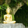 Stock Photo: Buddhstatue under green tree in meditative posture