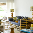Stockfoto: Contemporary bamboo sofseating area