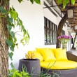 Outside lounge arenice framed with plants — Stock fotografie #6683947