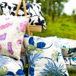 图库照片: Beautiful pillow displayed on lawn in garden