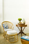 Table chair combination bamboo rattan seating area — Stock Photo