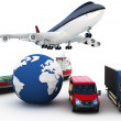 3d global cargo transport concept — Stockfoto