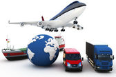 Conceito de transporte de carga global 3d — Foto Stock