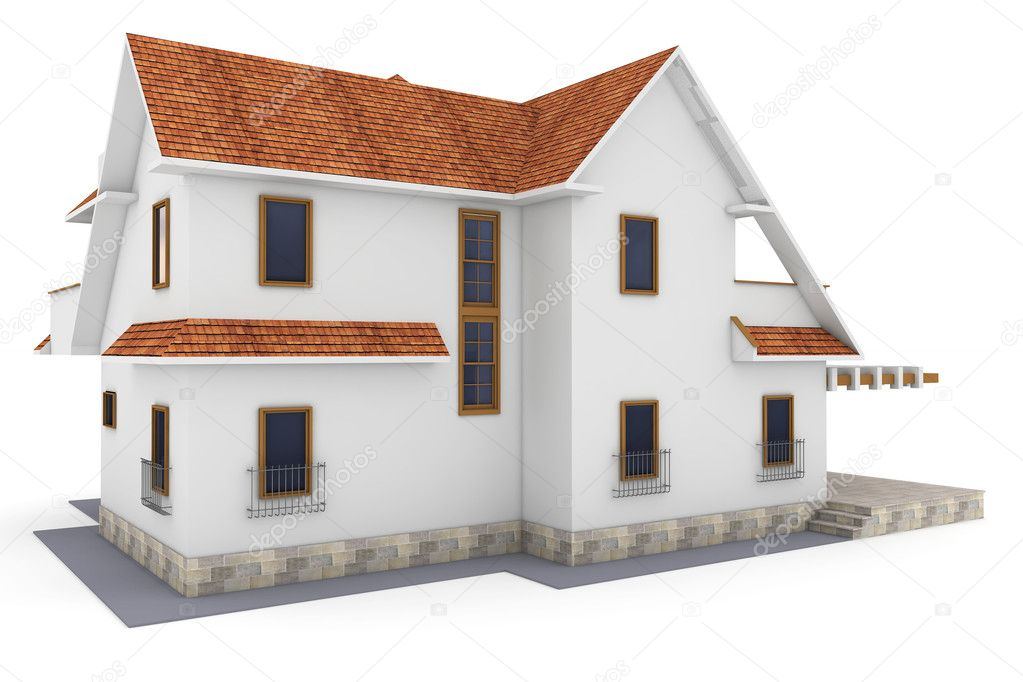 3d house isolated on white rendered generic — Stock Photo #5434107